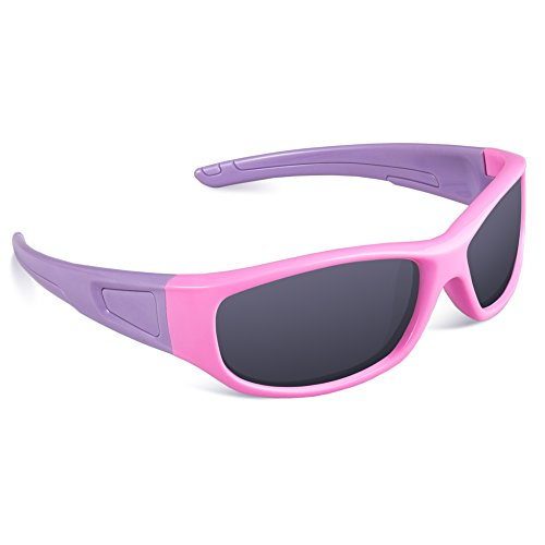 RIVBOS Rubber Flexible Kids Polarized Sunglasses Glasses for Baby and Children Age 3-10 (Mirrored Lens Available) RBK037(Pink,Black Polarized - Glasses Baby Fake