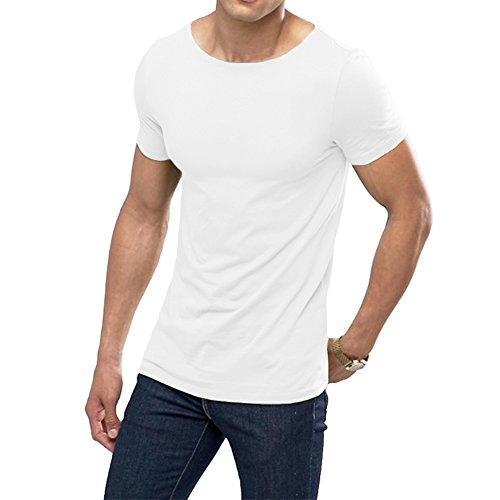 OA ONRUSH AESTHETICS Men's Muscle Fit T-Shirt with Boat Neck Stretch Tee in White S