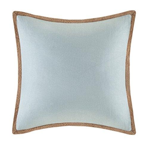 Madison Park Linen with Jute Trim Square Pillow-Blue-20×20, Blue