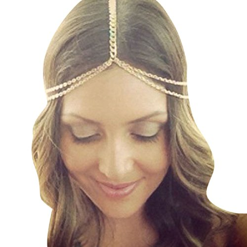 TONSEE Women Fashion Metal Head Chain Jewelry Headband Head Piece Hair Band
