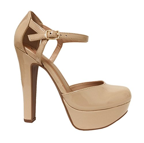 ADDISON! Delicious Women's Patent Platform Ankle-Strap Pumps, Dark Beige Patent 8 M US (Patent Ankle Strap Platform)