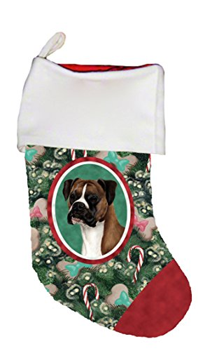 Boxer Fawn Uncropped - Best of Breed Dog Breed Christmas Stocking