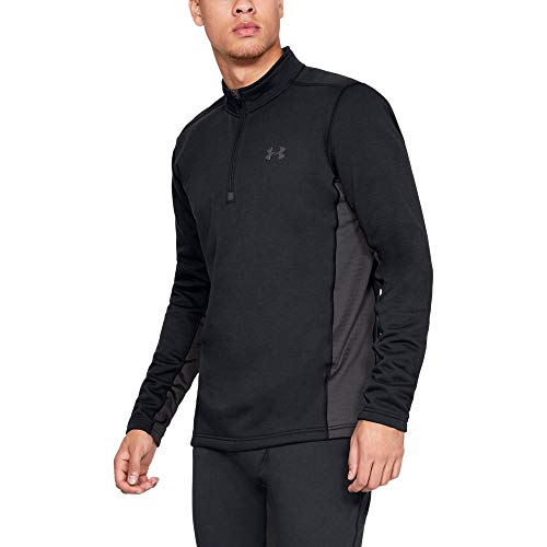 (Under Armour Men's Extreme Twill Base 1/4 Zip Tops, Black (001)/Charcoal, Large)