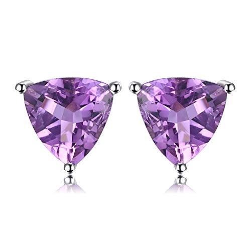 JewelryPalace Birthstone Gemstones 2ct Natural Amethyst Stud Earrings For Women 925 Sterling Silver Stud Earrings For Girls Triangle Cut