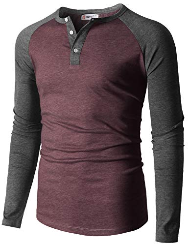 H2H Mens Casual Slim Fit Raglan Baseball Long Sleeve Henley T-Shirts Burgundy US S/Asia L (CMTTL0108)
