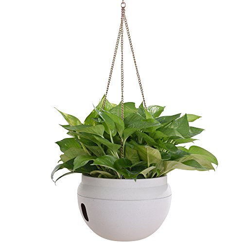 Ivy Pot Planter - Self-Watering Hanging Plastic Planter for Outdoor Indoor Plant with Chains Hook Garden Hanging Baskets for Plants (White)