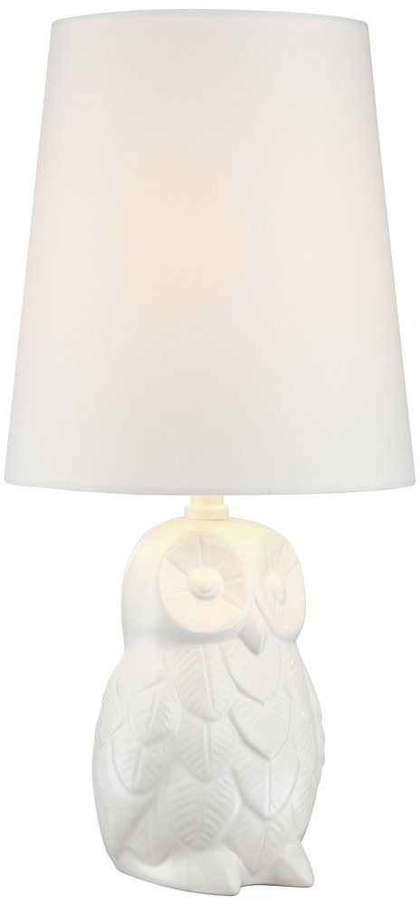 "Night Owl 19"" High White Ceramic Accent Table Lamp - Overall: 19"" high. Shade is 7"" across the top x 9"" across the bottom x 10"" on the slant. Takes one maximum 60 watt standard base bulb (not included). On-off switch on socket. Whimsical and charming owl accent table lamp. Style from the birds by 360 Lighting. - lamps, bedroom-decor, bedroom - 413wtEOhrkL -"