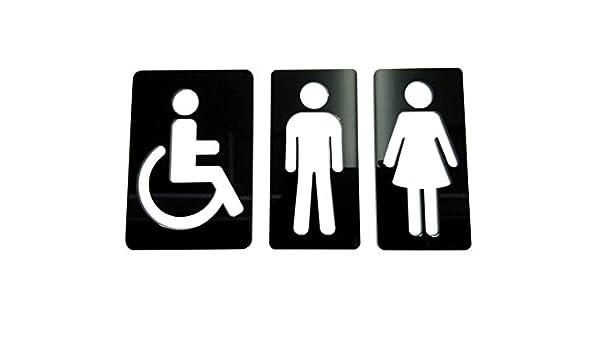 Grupo B58 Señal aseos metacrilato Negro - Hombre Mujer Discapacitado - N02