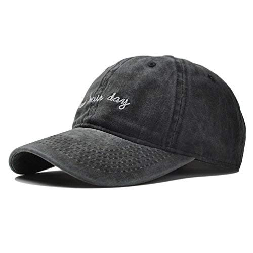 (Vintage Embroidery Baseball Cap Hat - Washed Cotton Distressed Bad Hair Day Printed Dad Sport Hat Unisex Adjustable Strapback (Black) )