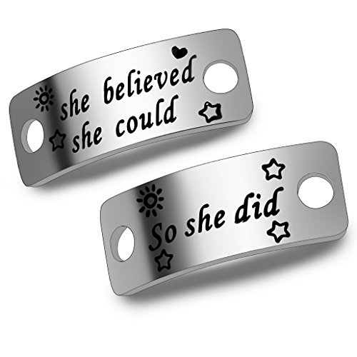 ENSIANTH She Believed She Could So She Did Shoe Lace Tag Sports Jewelry Inspirational Gift Trainer Tags Gift for Runner (She Believed She Could So She Did) (Best Running Shoes For Marathon Runners)