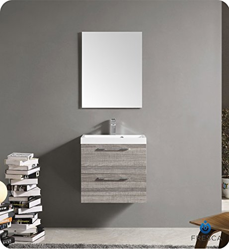 Fresca 24 inch Wall Mount Matte Modern Bathroom Vanity with Mirror and Faucet Ash Gray by Fresca
