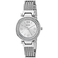 GUESS Women's Stainless Steel Casual Wire Bangle Bracelet Watch, Color: Silver-Tone (Model: U1009L1)