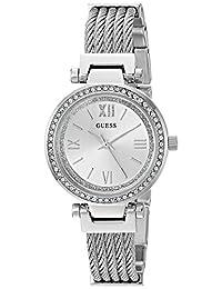 GUESS - Reloj de pulsera de acero inoxidable para mujer, Tono plateado, NS