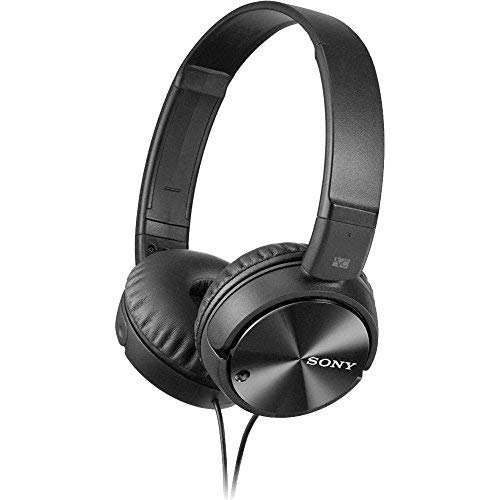 (Sony MDR-ZX110NC Extra Bass Noise-Cancelling Headphones with Neodymium Magnets & 30mm Drivers, Black (Renewed))