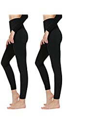 f7ca79e917df2 quanlityfirst Women's Fleece Lined Leggings High Waist - Ultra Soft Warm  Leggings