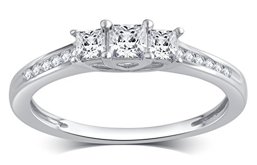 1/2 Cttw Princess Cut Diamond Three Stone Ring in 10K White Gold by Brilliant Diamond