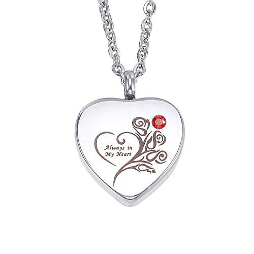 HooAMI Always in My Heart Cremation Jewelry Personalized Birthstone Heart Name Necklace