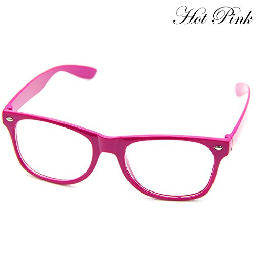 Doober Men Boy Women Girl Unisex Clear Lens Wayfarer Nerd Geek Glasses Eyewear 1pc (Hot Pink, - Nerd Pink Glasses
