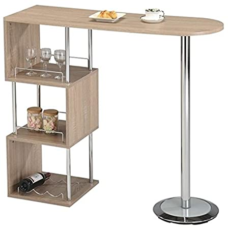 Elegant Breakfast Bar Table Storage Home Wine Drinks Glass Tier Rack Bottle  Holder Shelf White Oak