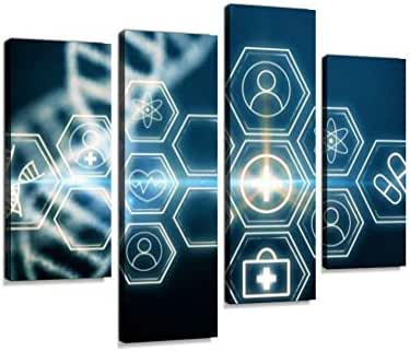 Innovative Medicine and Technology conceptCanvas Wall Art Hanging Paintings Modern Artwork Abstract Picture Prints Home Decoration Gift Unique Designed Framed 4 Panel