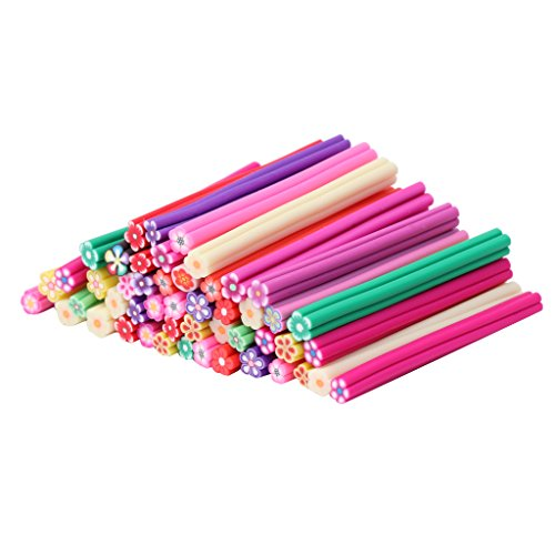 Horenme 50Pcs 3D Nail Art Flower Pattern Manicure Fimo Canes Sticks Rods Sticker Gel Tip