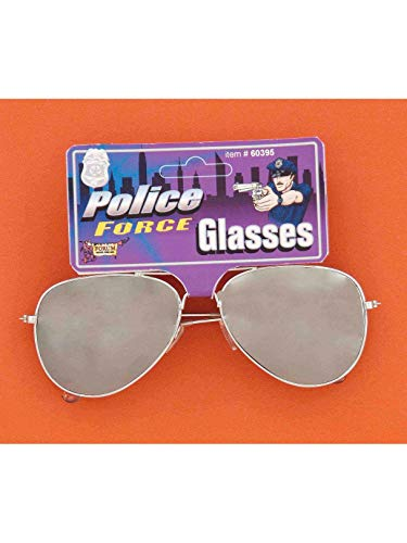 Forum Novelties Mirrored Police Glasses Costume Accessory, Silver, One Size ()