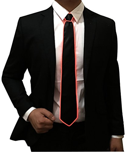 Light Up Neck Tie Led Tie for men Novelty Necktie for Rave Party Burning Man - Burning Rave Man