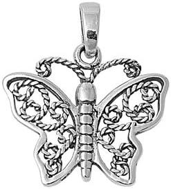 14mm 0.56 inch Glitzs Jewels Sterling Silver Butterfly Pendant