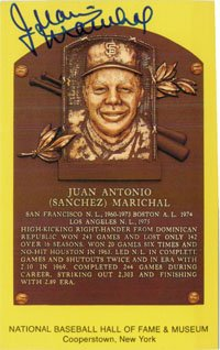 Signed Marichal, Juan Hall of Fame Plaque Post Card autographed Powers Collectibles