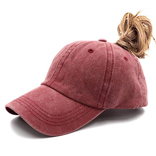 (Ponytail Unconstructed Washed Dad Hat Messy High Bun Ponycaps Plain Baseball Cap Red)