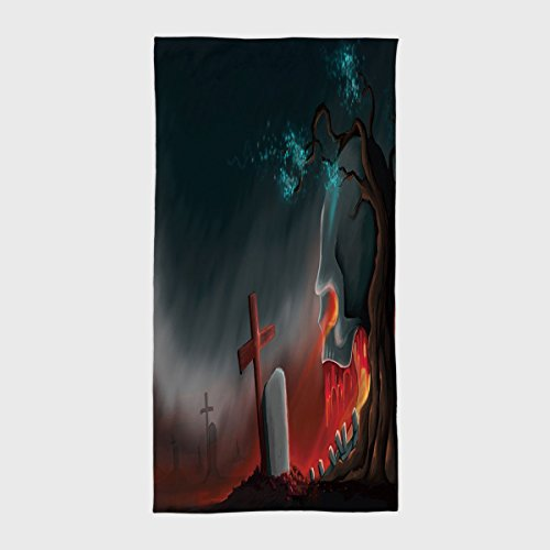 iPrint Cotton Microfiber Hotel SPA Beach Pool Bath Hand Towel,Halloween,Graveyard Cemetery Tree with Evil Skull Tomb Stone Cruciform Creepy Fantastic Decorative,Multicolor,for Kids, Teens, and Adults ()