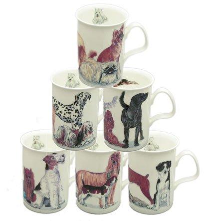 Roy Kirkham Dog Galore Bone China Mugs - Set Of 6