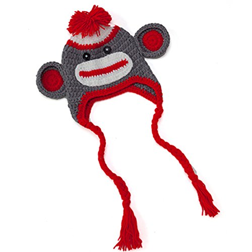 Infant Stretchy Warm Monkey Winter Knit Hat Beanie in 2 Styles and 3 Sizes (Medium, Red (Angry Birds Season 3 Halloween 2-12)