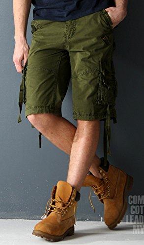 SiikWorld Men's Twill Cargo Shorts Multi Pockets 534# Army Green US 35 (Label 36)