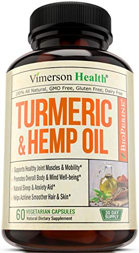 Turmeric Curcumin with Hemp Oil Powder & Bioperine - Joint Pain Relief, Anti Inflammatory & Anti Anxiety - Stress & Sleep Support Supplement with 95% Curcuminoids & Black Pepper - 60 Capsules.