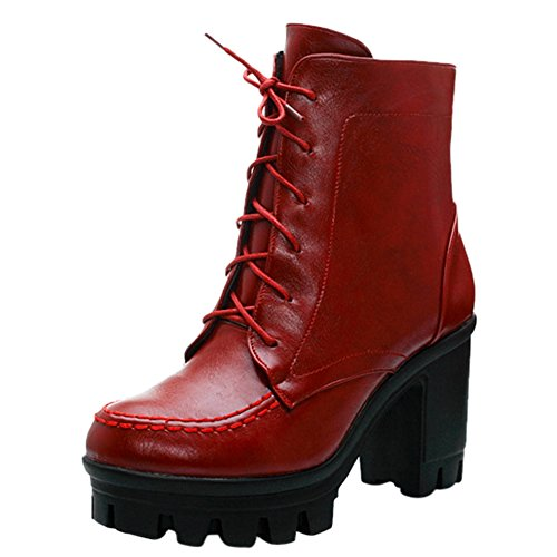 fereshte Ladies Chunky Cleated Platform Sole Womens Retro Goth Combat Lace Up Ankle Boots Wine Red