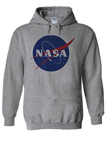 Nasa National Space Administration Logo Sports Grey Men Women Unisex Hooded Sweatshirt Hoodie-L