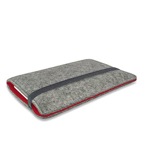 Stilbag Filztasche 'FINN' für Apple iPhone 6 - Farbe: hellgrau/rot