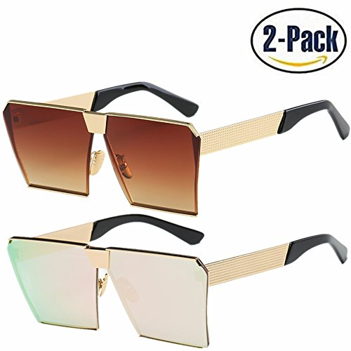 JOJO'S SECRET Oversized Square Sunglasses Metal Frame Flat Top Sunglasses JS009 (Gold/Brown+Gold/Cherry Powder, - Square Women Sunglasses For