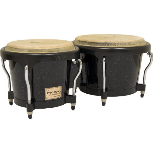 Tycoon Percussion 7 Inch & 8 1/2 Inch Artist Series Bongos - Metallic Black Finish by Tycoon Percussion