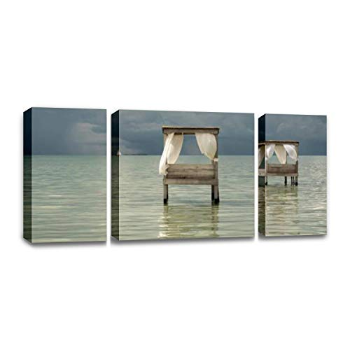 CCArtist sail Boat on The Horizon in The Caribbean Belize coasts and Wall Decor Print on Canvas Modern Artwork Living Room Bedroom Painting Art Wall (Living On A Sailboat In The Caribbean)