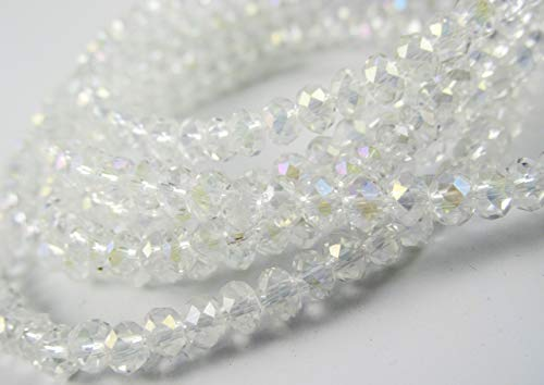 (BeadsOne 6mm - 500 pcs - Glass Rondelle Faceted Beads Crystal Clear AB White for jewerly making findings handmade jewerly briolette loose beads spacer donut faceted Top Quality 5040 (AB C02))