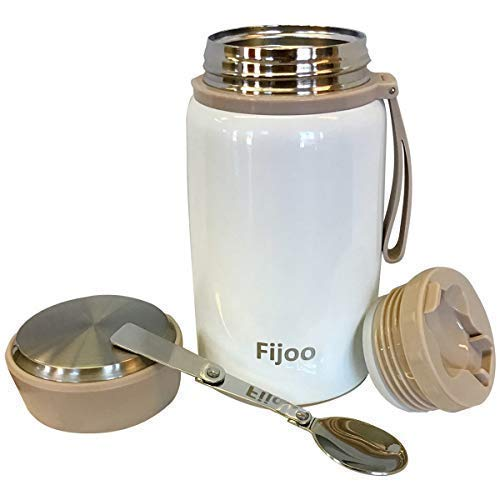 Fijoo 27oz Best Stainless Steel Food & Soup Thermos + Folding Spoon - Triple Wall Vacuum Insulated - Hot Soup & Cold Meals Storage Container Jar -Kids Lunch, Unbreakable, Leak Proof, BPA Free -White