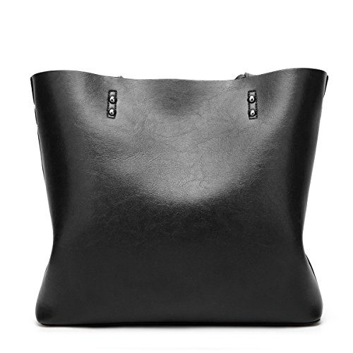 leather Ladies for Flada PU Women Bags Brown capacity Textured Shoulder Black Tote Bags Handbags Large w1q10vI
