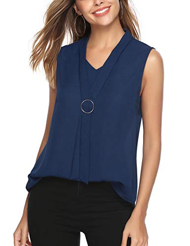 iClosam Women Casual Tie Neck Chiffon V-Neck Cuffed Sleeveless Blouse Tops (#2Dark Blue(Sleeveless), X-Large)