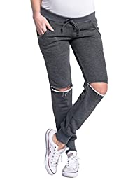 Zeta Ville - Womens pregnancy pants trousers ripped knees low-rise waist - 661c