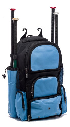 Black and Carolina Blue Chita II (L) Adult Softball Baseball Bat Equipment Backpack by MAXOPS