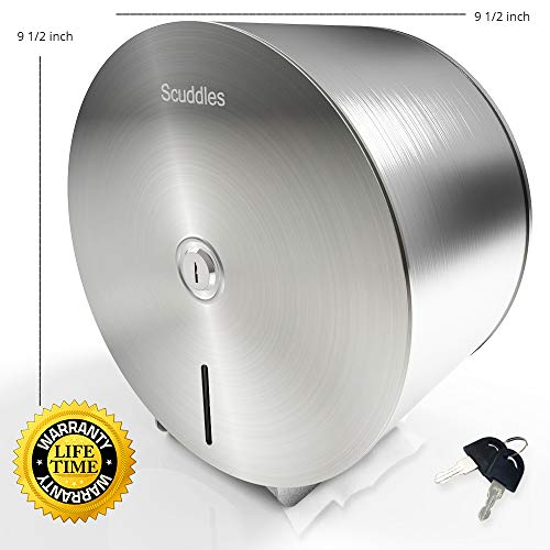 Scuddles Paper Towel Dispenser - Jumbo Toilet Paper Dispenser Stainless Steel Wall Mount - Marathon Dispenser Commercial Holder Tissue Paper with Key Lock for 9 Inch ()