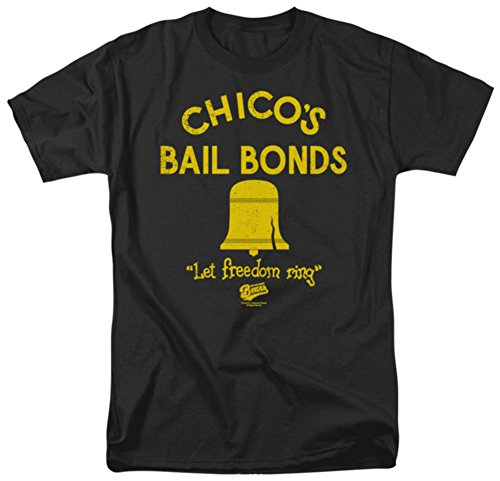 Trevco Men's Bad News Bears Chico's Bail Bonds T-Shirt, Black, X-Large