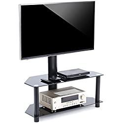 TAVR TV Stand with Swivel Mount and Height Adjustable Bracket for 32 to 55 inch LCD LED QLED Plasma TVs,Curved TVs and Glass Media Storage Shelf Black TW1001